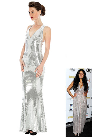 Sequin Sheath Maxi in the style of Nicole Scherzinger