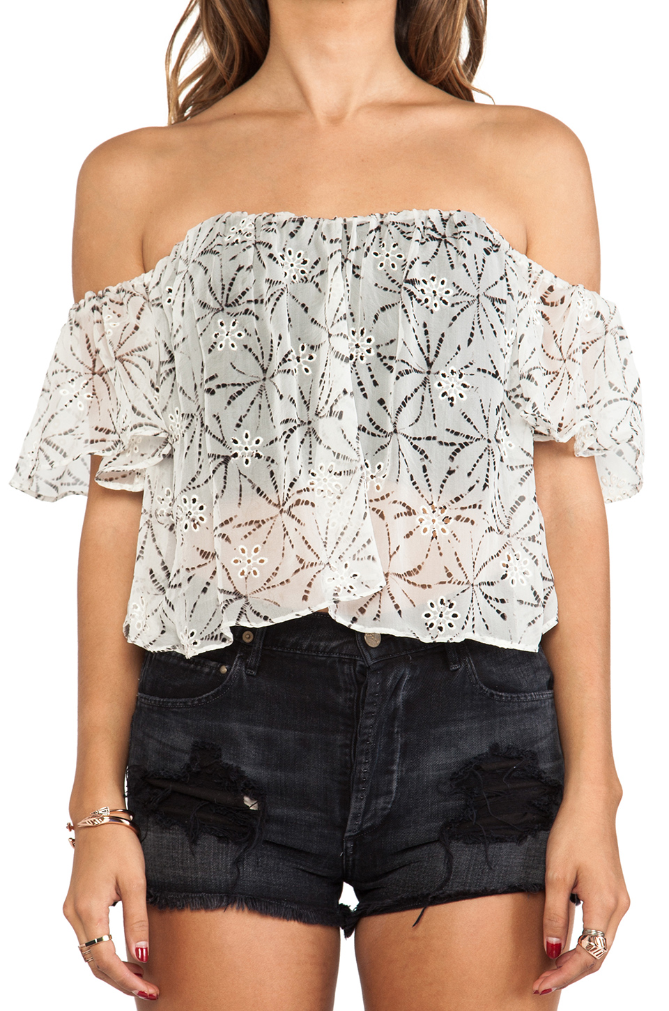 Line & Dot Flare Corset Top in Coconut Scent from REVOLVEclothing.com