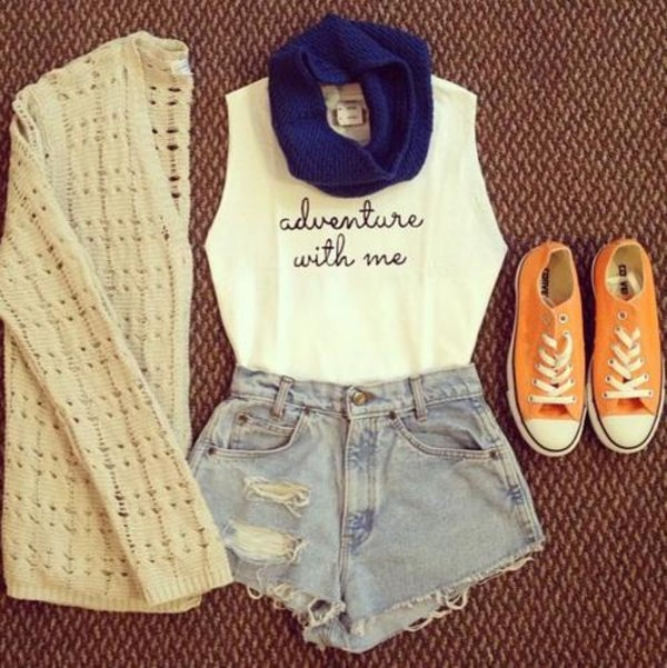 shirt converse shorts sweater scarf t-shirt travel adventure cute fashion muscle tee muscle tee