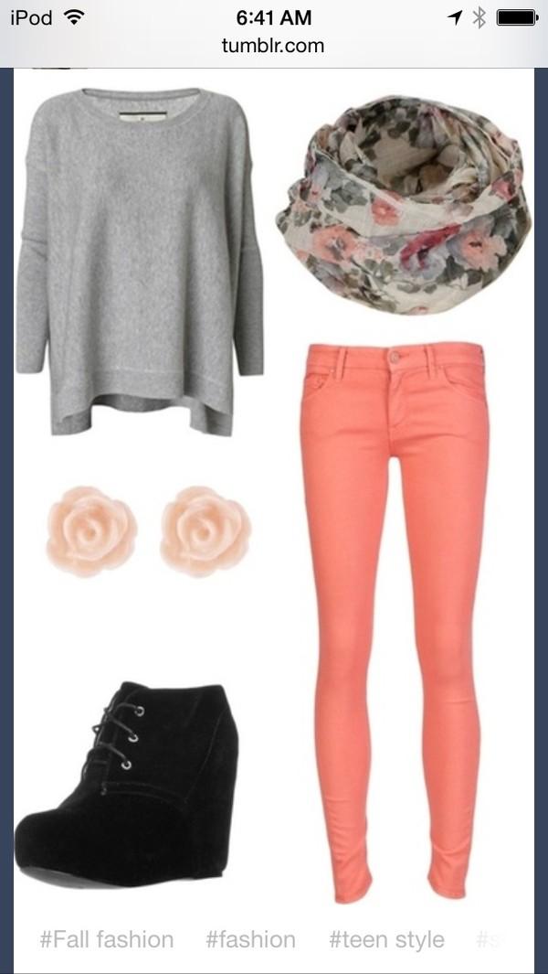 jeans shirt scarf pink floral floral scaf