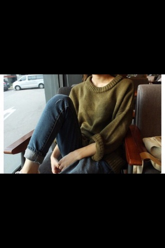 sweater pullover olive green oversized sweater