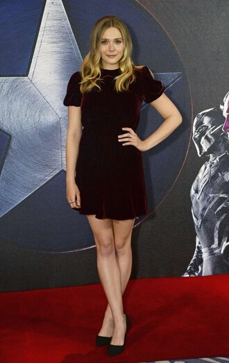 mini dress pumps elizabeth olsen velvet burgundy dress