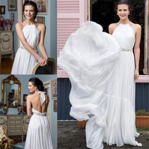 Dress Backless Wedding Dress Greek Style Wedding Dresses Summer