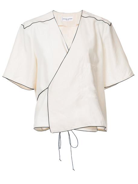 Apiece Apart kimono top wrap top style women white silk