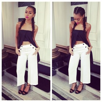 top strapless leigh-anne pinnock instagram sandals cropped pants