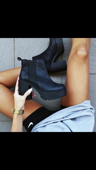 shoes black boots boots leather boots black booties platform boots platform shoes heels heels boots
