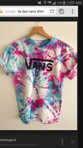 t-shirt vans tie dye shirt cute tumblr shirt grunge turquise magenta white tie dye shirt black vans t-shirt blue shirt pink vans warped tour