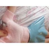 sweater,fuzzy sweater,soft grunge,blue skirt,skirt,plastic,baby pink,black friday cyber monday,vinyl,winter swag,vinyl skirt