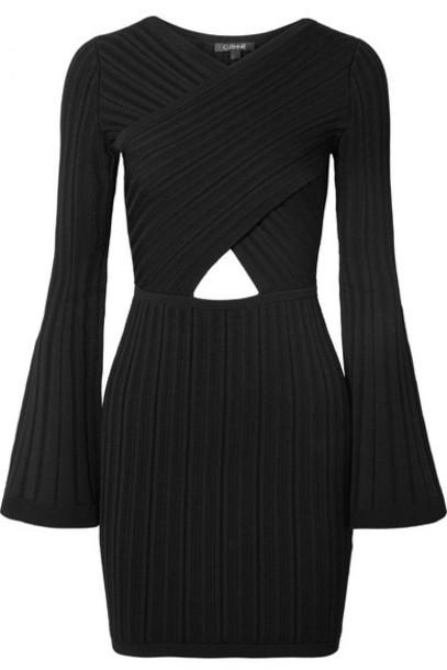 Cushnie - Cutout Ribbed-knit Mini Dress - Black