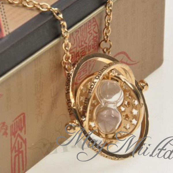 Harry Potter Hermione Granger Rotating Time Turner Necklace Gold Hourglass J | eBay
