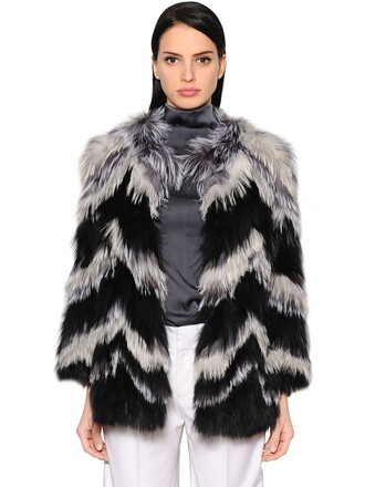 jacket fur jacket fur fox chevron white black