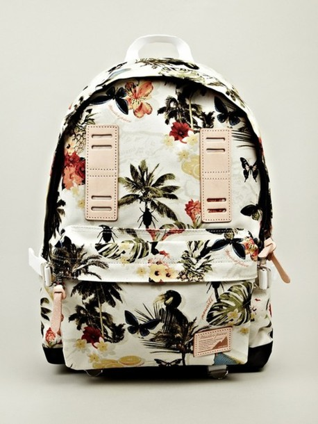 bag flower bag summer bag backpack palm tree print hawaiian tropical birds tropical backbag flowers vintage back to school palms white master-piece wite school bag school bag floral Accessory bookbag accessories floral backpack