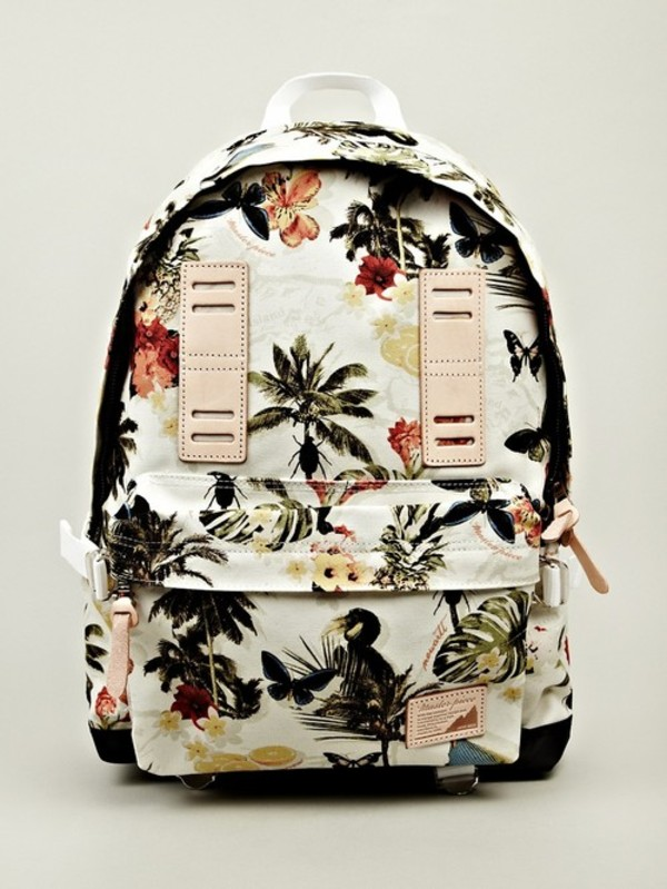 bag flower bag summer bag tropical hawaiian birds palm tree print tropical backbag flowers floral backpack bookbag vintage