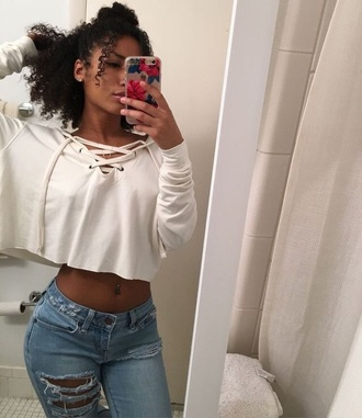 sweater white lace up v neck cozy crop tops cropped sweater cropped hoodie