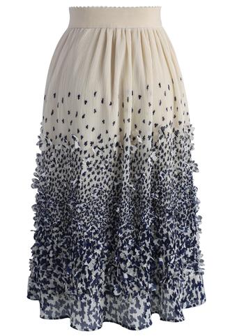 skirt midi skirt floral blue 3d chiffon