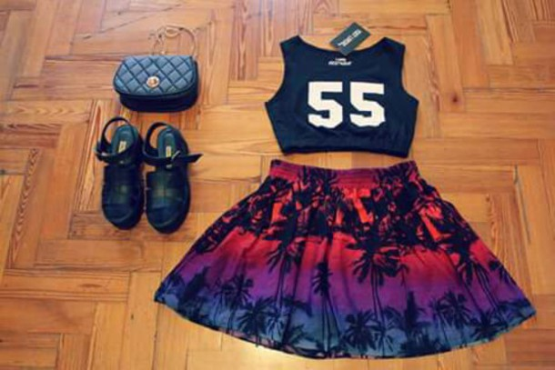 skirt palm tree print miami fashion