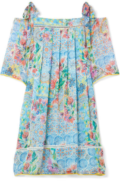 Matthew Williamson dress chiffon dress chiffon light cold blue silk light blue