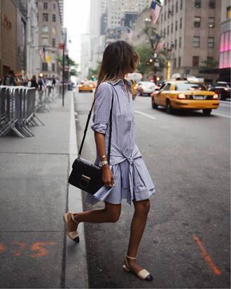 dress tumblr mini dress blue dress long sleeves long sleeve dress shirt dress sandals flat sandals bag black bag