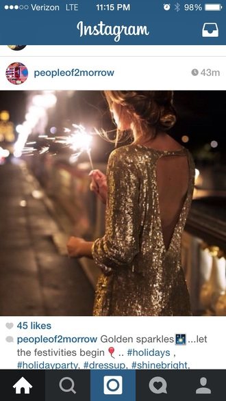 dress sequin dress open back gold gold sequins