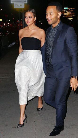 dress strapless gown chrissy teigen pumps bustier dress skirt top crop tops shoes