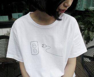 t-shirt white tumblr top plug tee cute grunge indie