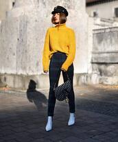 sweater,turtleneck sweater,knitted sweater,yellow sweater,oversized sweater,ankle boots,white boots,skinny pants,checkered pants,high waisted pants,fisherman cap