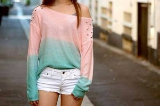 blouse sweater ombre bleach dye ombre shirt pink turquoise studs white shorts summer off the shoulder sweater studded cardigan