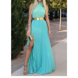 dress golden belt formal dress blue dress prom dress long prom dress