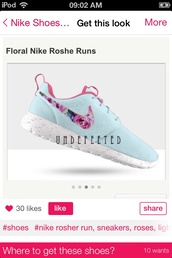 shoes,nike roshe run,nike,light blue,floral print shoes,floral shoes,shirt,faux fur,white,long sleeves,crop tops
