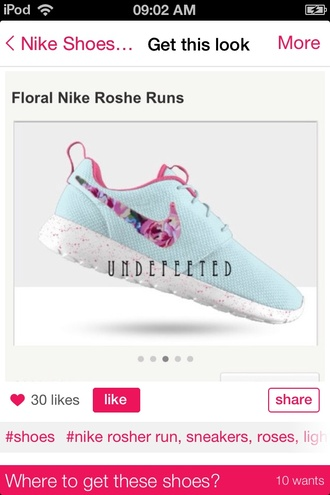 shoes nike roshe run nike light blue floral print shoes floral shoes shirt faux fur white long sleeves crop tops