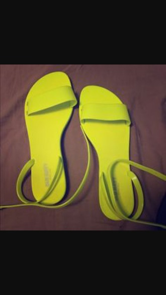 shoes yellow neon yellow flat sandals