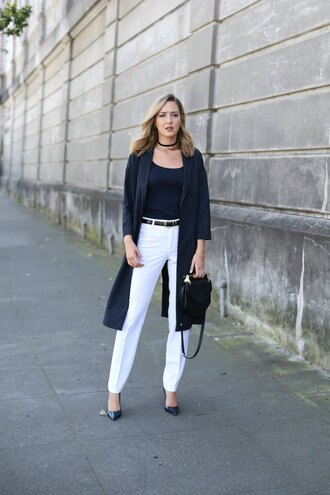 the classy cubicle blogger tank top shoes bag belt black top white jeans black jacket long cardigan choker necklace