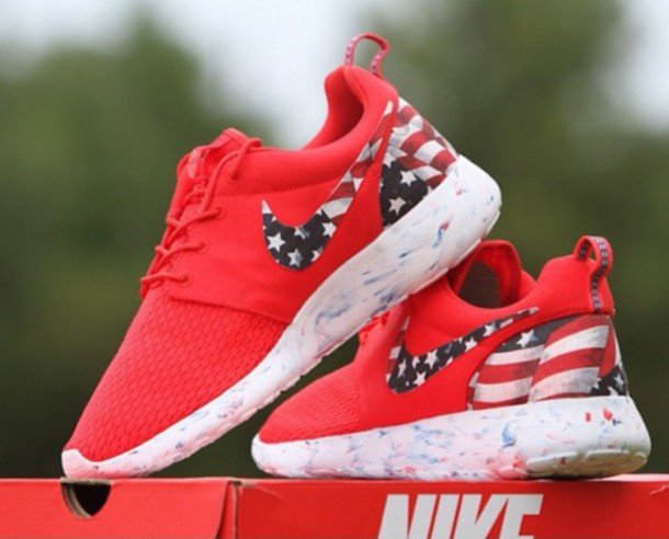 48dc7045666 ... Nike Roshe Run Red Marble American Flag Pride Print Custom ...
