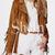 Brown Long Sleeve Laple Tassel Jacket -SheIn(Sheinside)