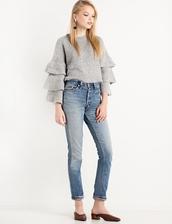 sweater,grey ruffled sleeve sweater,ruffled sleeve sweater,casual sweater,angora sweater,cute sweaters,sweater weather,grey sweater