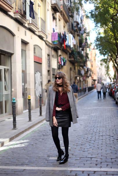 my daily style blogger shirt blazer leather skirt