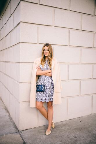 gal meets glam blogger cute dress birthday dress beige coat chanel bag mini bag blue dress light blue