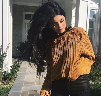 sweater kylie jenner holes brown sweater oversized sweater