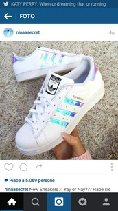 shoes,adidas superstars,adidas,white,superstar,adidas shoes,colorful,blue,purple,sneakers,holographic adidas shoes,holographic,women,tumblr,rainbow,afidassuperstars,white sneakers