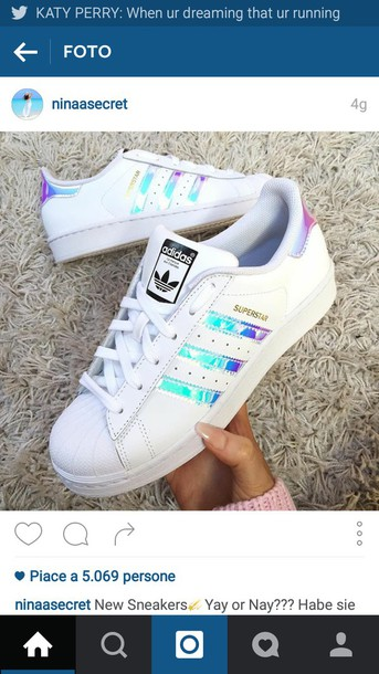 shoes adidas superstars adidas white superstar adidas shoes colorful blue  purple sneakers holographic adidas shoes holographic