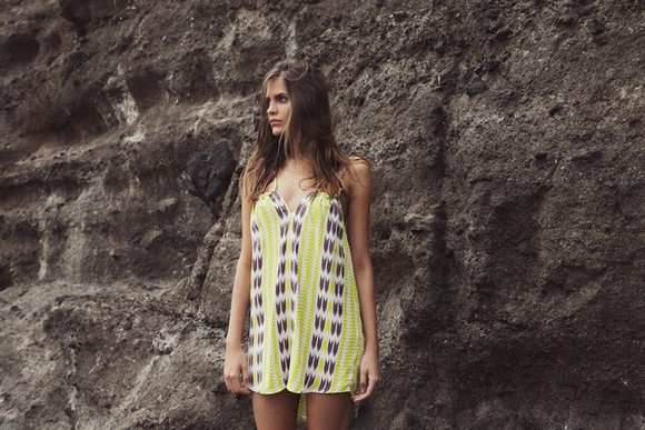 pattern dress lime green spaghetti strap cover up