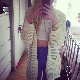 sweater cardigan cream cute blue jeans cross necklace pants