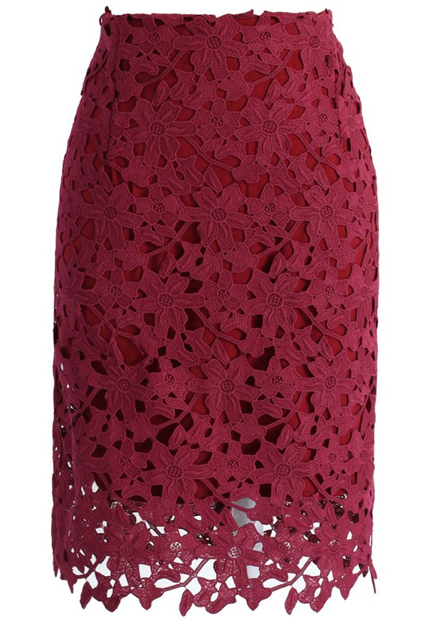 chicwish full flower crochet wine pencil skirt