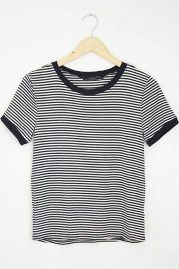 T shirt black grey striped top stripes ringer tee Grey striped t shirt