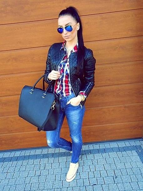jacket leather jacket sunglasses
