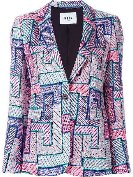 MSGM blazer women geometric print silk jacket