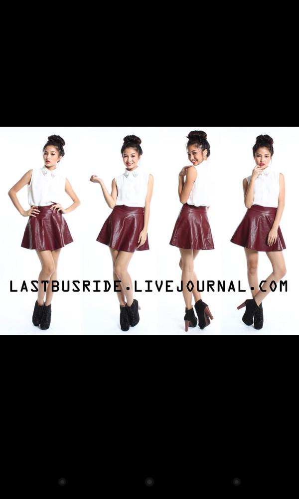 skirt leather burgundy skater skirt