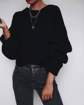 jewels tumblr necklace jewelry bracelets stacked bracelets black sweater denim jeans black jeans all black everything
