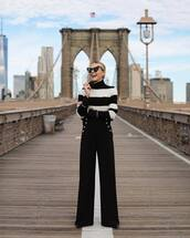 pants,wide-leg pants,high waisted pants,military style,turtleneck,striped sweater,heart sunglasses,pumps