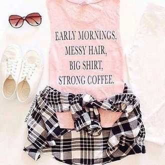 top pink quote on it teen girl life coffee morning summer hair cute breakfast sunglasses
